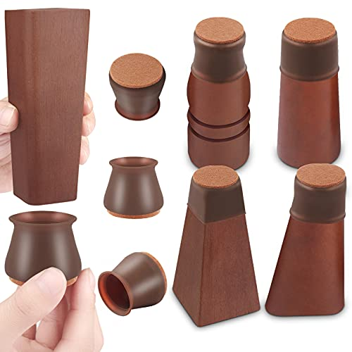 Chair Leg Protectors for Hardwood Floors, 32 Pcs Silicone Chair Leg Caps, Felt Furniture Pads for Protecting Wood Floors from Scratches and Noise, Smooth Moving for Chair Seats, Fit:1.18-1.65 Inch