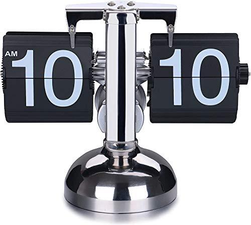 DOBO Orologio da Tavolo Vintage Flip Clock Design Elegante Nero scrivania retrò casa Batteria ingranaggio Integrato Moderno Arredamento orario