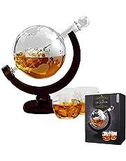 MikaMax - Globe Dekanter Set - karafka do whisky - z dwoma szklankami - ręcznie wykonana - przezroczysta - 850 ml - karafka z hermetycznym zamknięciem