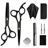 Barber Shears Home Hair Cutting Scissors Kit Professional Stainless Steel Hair Cutting Shears Including Thinning Scissors Hair Comb for Home Salon for Men Women and Pets TecTake