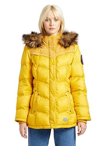 khujo Damen Jacke WINSEN4 mit Abnehmbarer Kapuze und Kunstfellbesatz Winterjacke Steppjacke, Yellow Ripstop, L