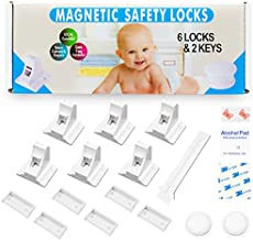 Eco-Baby Cabinet Locks for Babies - 6-Pack Magnetic Baby Proof Safety Latches, 2 Keys - Magnetic Baby Proof Lock for Cabinets, Doors, Drawers - Easy to Install Child Proofing