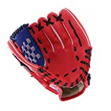 T TOOYFUL Sports Baseball Glove - Padded Catcher's Glove Mitt - Perfect for Beginners - Left Handed Thrower - Choice of Color and Size - Red, 10.5 inch