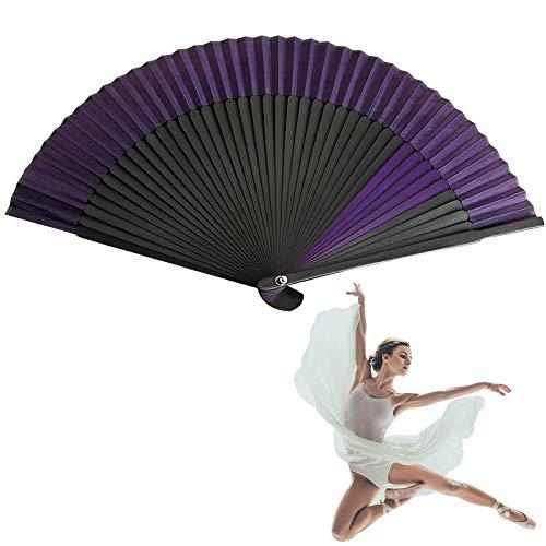 Abanico de mano de pierna de bambú largo, abanico chino abanico plegable, abanicos de mano plegables de estilo vintage, abanico de mano doblado de seda negra, para espectáculos, festivales, eventos,