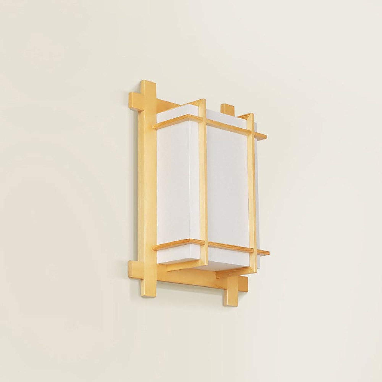 XGBIN Wandleuchte aus massivem Holz, japanische Wandlampe, Nachttischlampe, modernes Schlafzimmer Treppenhaus Gang Balkon Massivholzlampe aus Holz Innenbeleuchtung [Energieeffizienzklasse A ++]