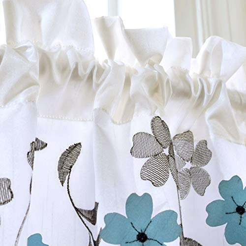 DriftAway Isabella Faux Silk Embroidered Kitchen Swag Valance Embroidered Crafted Flower Single 60 Inch by 18 Inch Plus 1.5 Inch Header Ivory Blue