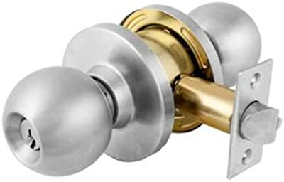 Master Lock BLNC0932DKA4 Commercial Cylindrical Ball Knob Lockset, Satin Chrome