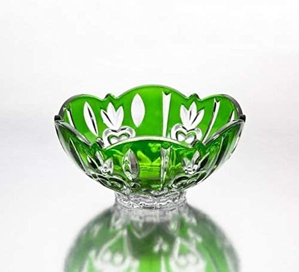 Fine Crystal Accent Bowl Green