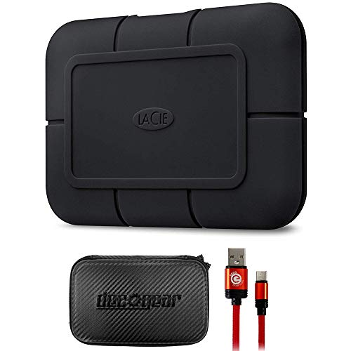 LaCie STHZ1000800 Rugged SSD Pro 1 TB Solid State Drive Bundle with Deco Gear Hard EVA Case with Zipper for Tablets and GPS 6 Inch and Deco Essentials 3FT Braided Type-C Charge & Sync USB Cable