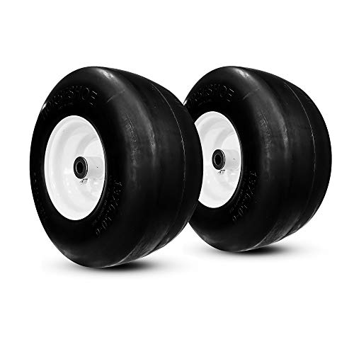 """2 New 13x6.50-6 Flat-Free Smooth Heavy Duty Tire w/Steel Rim for Commercial Lawn Mower Garden Tractor - Hub Length 4""""-7.1"""" with 1/2"""" Bore & 1"""" Grease Oil Infused Bushing 136506 T161"""