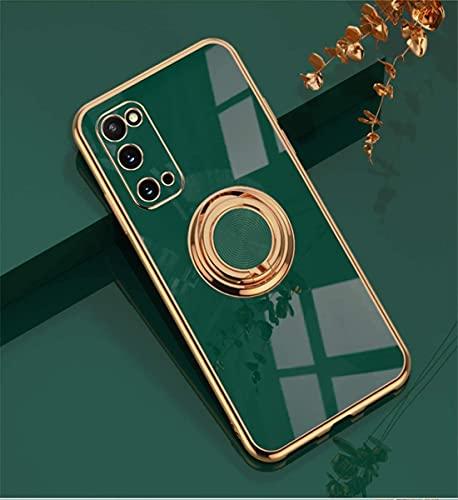 EYZUTAK Funda para Samsung Galaxy A72, brillante, suave, de silicona TPU, delgada, con anillo de 360 grados, antigolpes, soporte para dedos, soporte magnético para coche, color verde