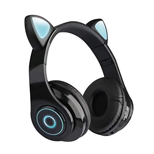 QOTSTEOS Lindo auricular de juego con orejas de gato, luz LED, inalámbrico, parpadeante, estéreo, Bluetooth 5.0, para teléfonos inteligentes, portátiles, niños, adultos (negro)