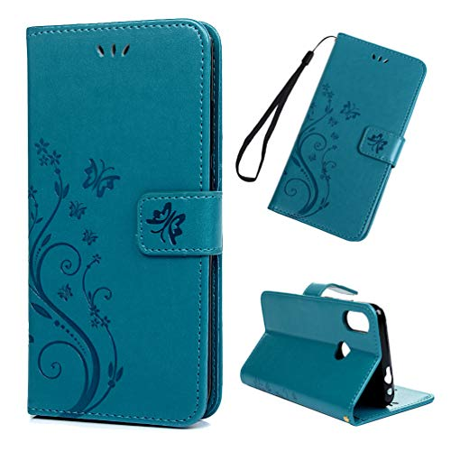 LaVibe Coque pour Xiaomi Redmi Note 7, Housse en Cuir PU Leather Etui Portefeuille à Rabat Clapet avec Porte-Cartes de Crédit Fermeture Magnétique, Fleurs Papillon Flip Wallet Protective Case–Bleu