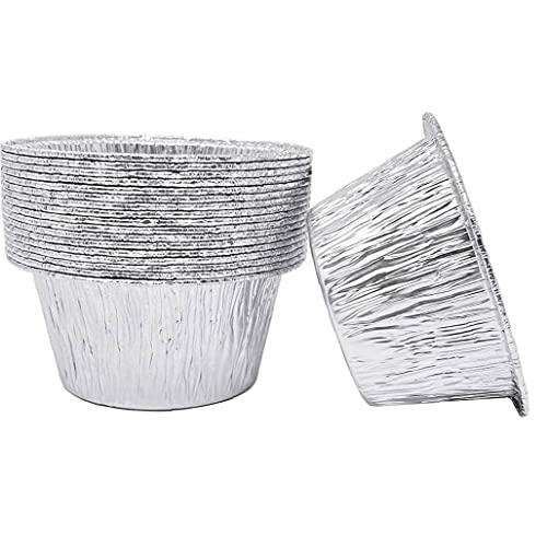 TongICheng Foil Pie Dish, 50PCS de la Ronda de Papel de Aluminio bandejas para Hornear, Parrilla Pan, Contenedores Cupcake Cases La Parrilla para la cocción