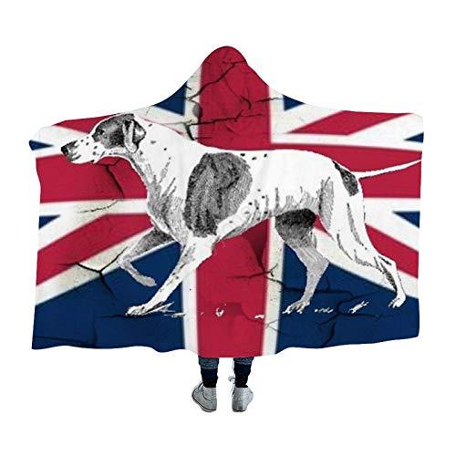 yyone Hooden Blanket Throw for Adults & Kids Grunge UK Fashion Union Jack Flag English Pointer Fluffy Blanket Hoodie 59'X79'