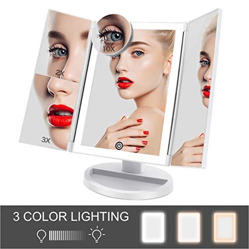 FASCINATE Espejo Maquillaje con Luz 3 Modos Iluminación Colores,72 Leds Tríptica Aumentos 3X, 2X,1x Magnetismo Extraíble Espejo 10X Rotación 180° Espejo de Maquillaje Carga con USB o Batería