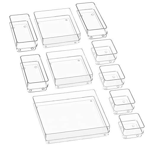 Puricon (10Stück Plastik Schubladen Ordnungssystem Aufbewahrungsbox Stoffkasten Schubladeneinsatz Schubladen Tisch Büro Bade Make-up Organizer, Drawer Divider Cubes Container –Transparent