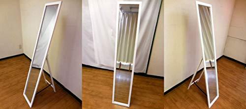 『NaturalHouse スタンドミラー 白 幅27cm 高さ140cm 木製 飛散防止加工』のトップ画像