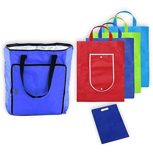 MARKESYSTEM - Bolsa isotermica - Pack Supermercado - 5 Bolsas de la Compra Reutilizables, Plegables, Tejido Resistente - (1 Bolsa isotérmica + 4 Bolsas de Colores + 1 bolsita portadora)