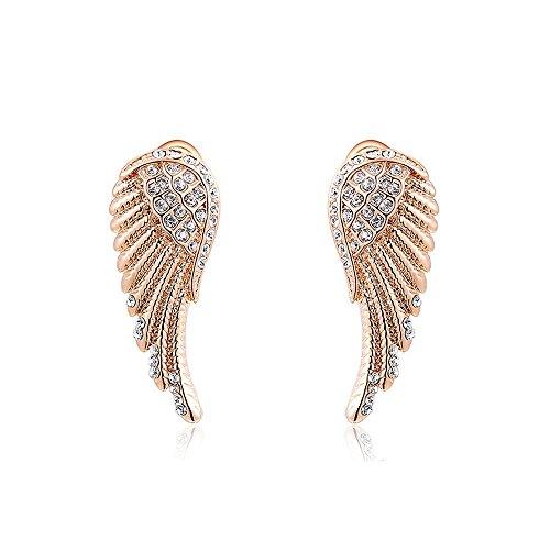 Damen Ohrstecker Ohrringe Flügel Wings Engelsflügel vergoldet Zirkonia Kristall rosègold