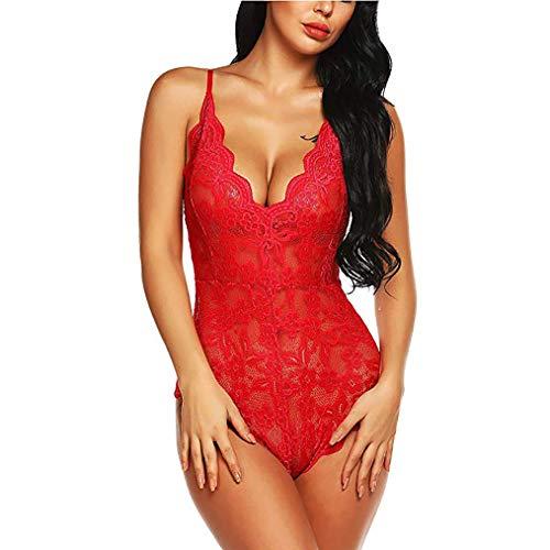 GFFEI Dessous Body Wäsche Damen Sexy Bodysuit Tief V-Ausschnitt Reizwäsche Spitze Lingerie Top Einteiliger Negligee Oberteil,Rot,M