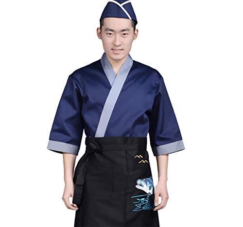 Jolie Herren Ellenbogenärmel Sushi Kochjacke japanisch Küchenuniform Atmungsaktiv Kimono Cardigan,XXL