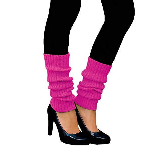 Oblique Unique® Sexy Damen Bein Stulpen Neon Strümpfe für 80er Jahre 80s Motto Party Fasching Karneval Tanzen Aerobic Kostüm Accessoires - Farbe wählbar (Neonpink)