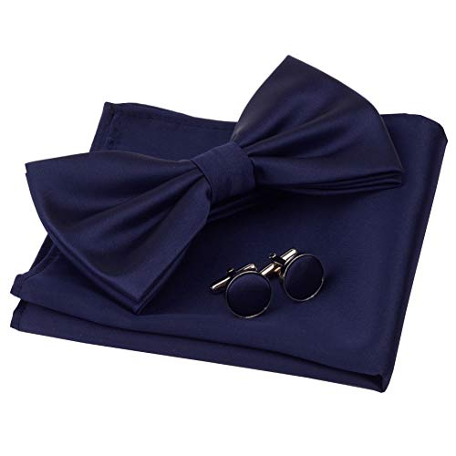GUSLESON Mens Navy Blue Wedding Bow…