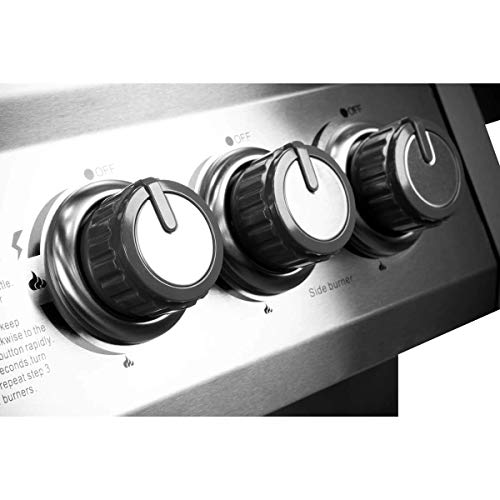 Dellonda Deluxe 4 Burner Gas BBQ Barbecue with Side Burner, Piezo Ignition, Thermometer & shelves