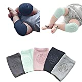 GUAGLL 5 Pairs Baby Knee Pads for Crawling Toddler Leg Warmers Non-slip Elastic Cotton Socks for Crawling 6-24 Months