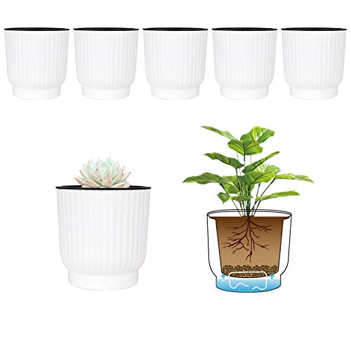 T4U 4 Inch Self Watering Pots for Indoor Plants, 6 Pack White Plastic Flower Pots for All House Plants, Flowers, African Violets