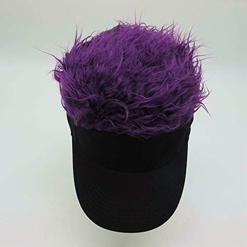 Kreative Baumwolle Stirnband Perücke Hut im Freien Kavallerie Tik Tok mit dem Hip Hop lustigen Hut (Lila)
