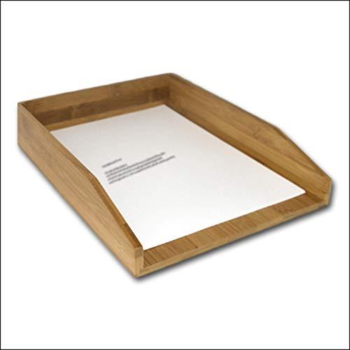 Relaxdays Briefablage Bambus, Schreibtischablage für A4 Papier, Dokumente, Unterlagen, HxBxT: 6 x 25 x 33 cm, natur