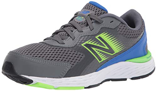 New Balance Kid's 680 V6 Lace-up Running Shoe, Lead/Cobalt/Energy Lime, 11 Wide Little