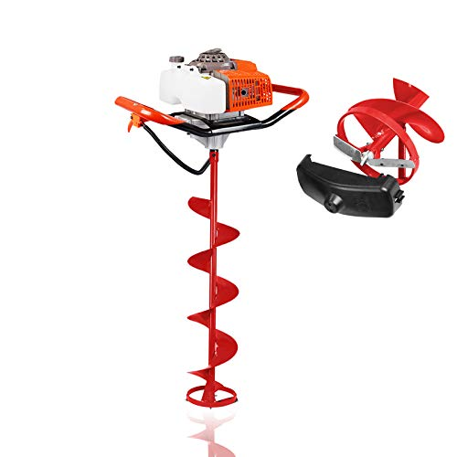 8 Inch Stainless Bit 63CC 2 Stroke Gas Powered Ice Fishing Auger Drill Hole Digging for Ice Burrowing/Drilling & Ice Fishing (Ice Auger 8