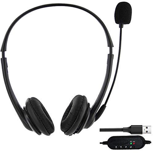 VRK USB Headset Computer, Headset mit Mikrofon, leichtes PC Headset Kabelgebundene Kopfhörer Business Headset mit Lautstärkeregler für Skype Webinar Telefon Callcenter Bürokonferenzen usw