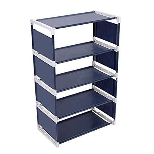 HYY-AA Zapatero 5 Nivel de zapatos de almacenamiento de acero inoxidable Y Tela no tejida fácil de montar zapato impermeable Organizador apilable soporte del estante for la puerta