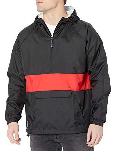 Charles River Apparel Unisex Adult & Water-Resistant Pullover Rain (Reg/Ext Sizes) Windbreaker Jacket, Black/Red, Small US
