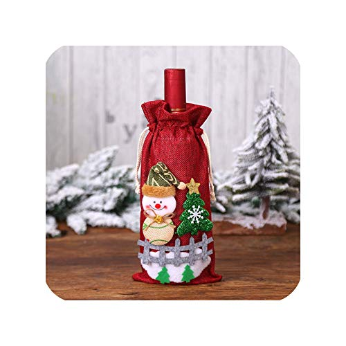 MISS-YAN - Funda para botella de vino de Papá Noel 2020, diseño de Papá Noel de Navidad para decoración de mesa de cena, color rojo 2