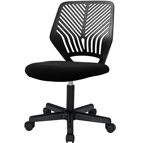 BOSSIN Armless Office Chair Desk Chair Mesh Computer Chair Task Chair with Back Support Swivel Rolling Executive Chair for Back Pain,Black(Black)