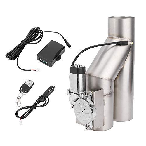 Qiilu Kit tubo di scarico da 3 pollici, accessori per auto con telecomando per valvola di controllo elettrico in acciaio inossidabile