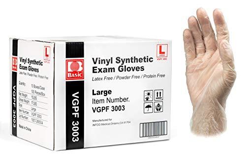 Basic Medical Clear Vinyl Exam Gloves - Latex-Free & Powder-Free - Large, VGPF3003 (Case of 1,000)