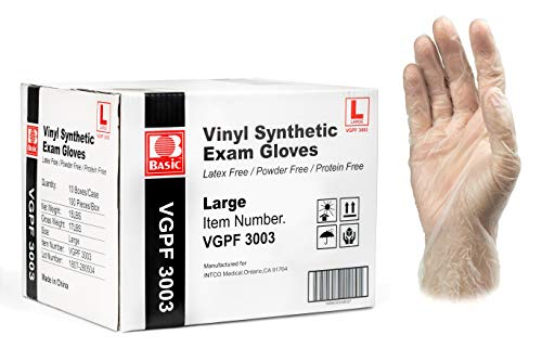 Basic Medical Clear Vinyl Exam Gloves - Latex-Free & Powder-Free - Large, VGPF3003 (Case of 1,000)
