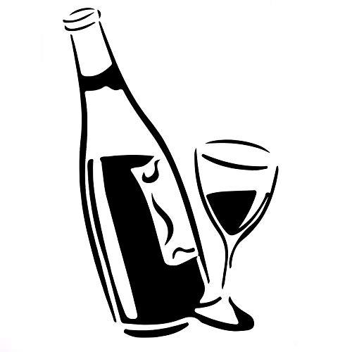 Casinlog Calcomanía de cocina para copa de vino y botella de vino profesional superior brillante PVC arte de pared