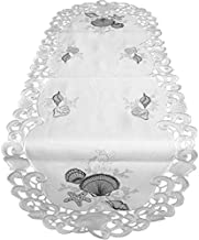 Doily Boutique Table Runner Embroidered with Blue Seashells on Bleached White Fabric, Size 54 x 15 inches