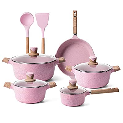 YIIFEEO 11 Pieces Nonstick Cookware Set, Stone-Derived Cooking Pots and Pans Set with Lids,Home Kitchenware with Frying Pan, Stockpot and Saucepan, Induction Compatible(Pink)