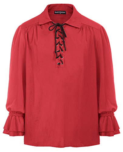 Casual Shirts for Men Cosplay Wide Ruffle Cuff Tops Vampire Goth Costume Red L