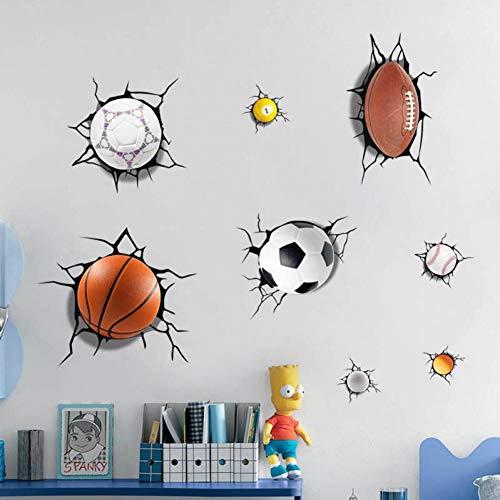 MMLFY Muursticker 3D veel bollen gebroken muursticker voetbal basketbal stickers raamsticker jongens woonkamer sport decoratie wanddecoratie