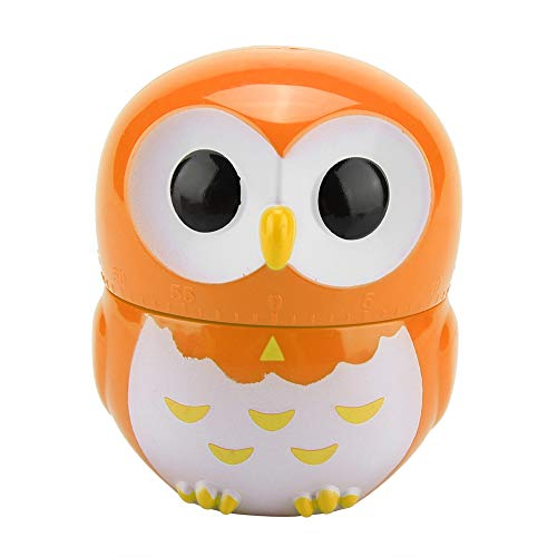 Weiyirot Cooking Timer, Cute Owl Shape Timer, 1-55 Minutes Kitchen Timer Egg Timer Loud Alarm Mechanical Timer for Baking Frying Cooking Eggs Cookies Cakes Games Sports(Orange)