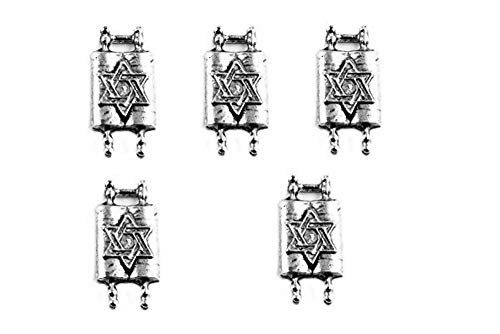 PlanetZia 6pcs Jewish Torah with Star of David Charms For Jewelry Making TVT-1022 (Antique Silver)